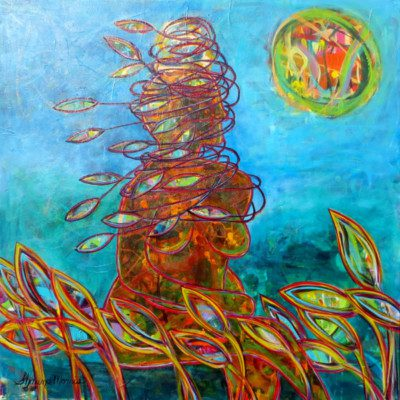 SHAWNA MORRIS - She-is-the-Eye-of-the-Storm - 36x36 acrylic