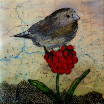 salyna-gracie-releasing-the-dogma-of-birdsong-perching-finch - 6x6 encaustic mixed media