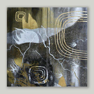 SHAWN PAGELS-Middle Of Summer 30x30 diptych-acrylic, gold leaf on two canvas